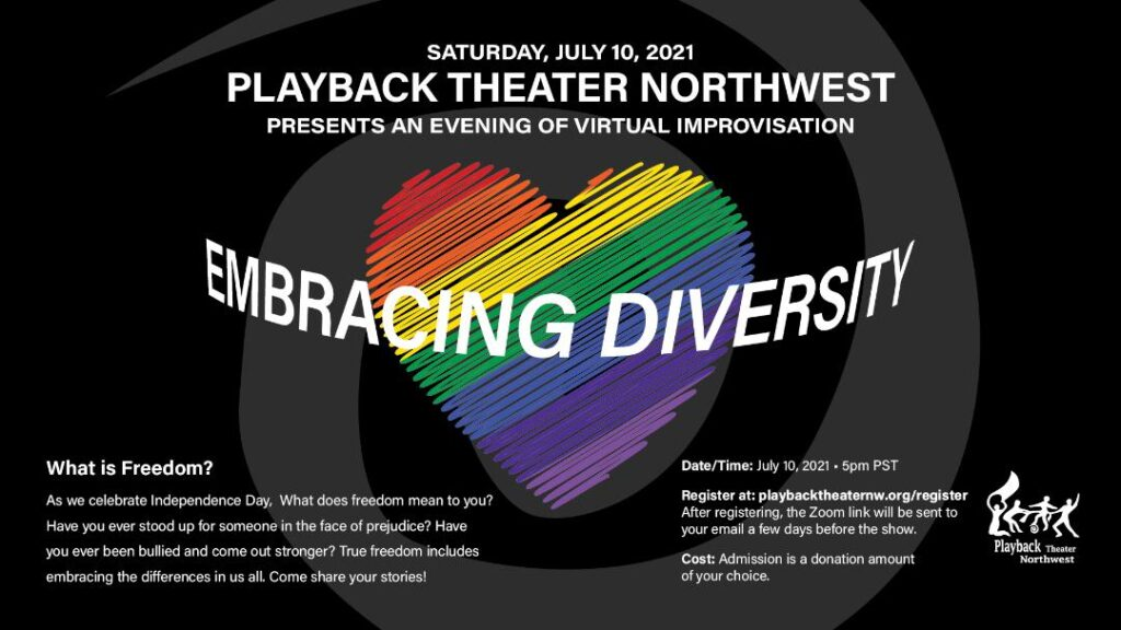 seattle improv show july 10 2021 playback theater northwest presents embracing diversity join us on zoom